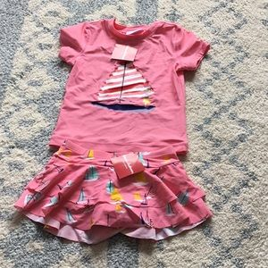 Hanna Andersson girls bathing suit set 8/ 130 NWT